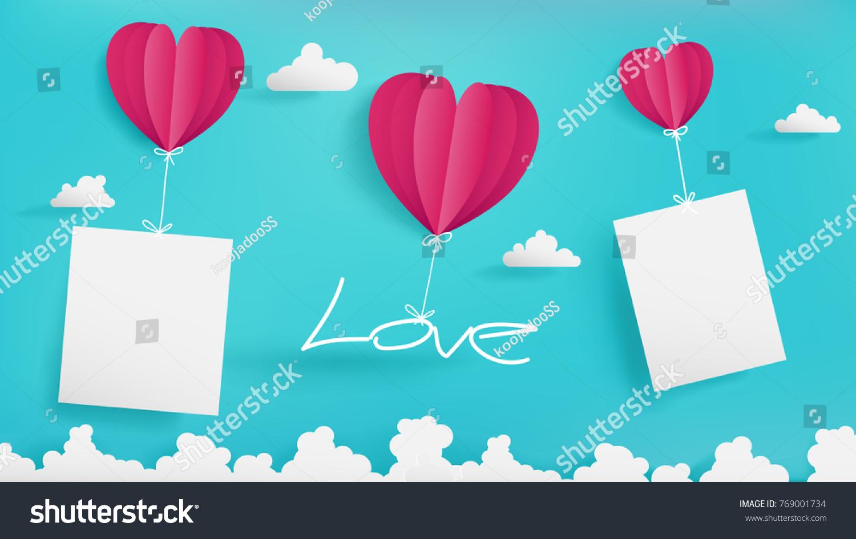 Valentines Day Artwork Contain Three Balloonsblue Stock Vector