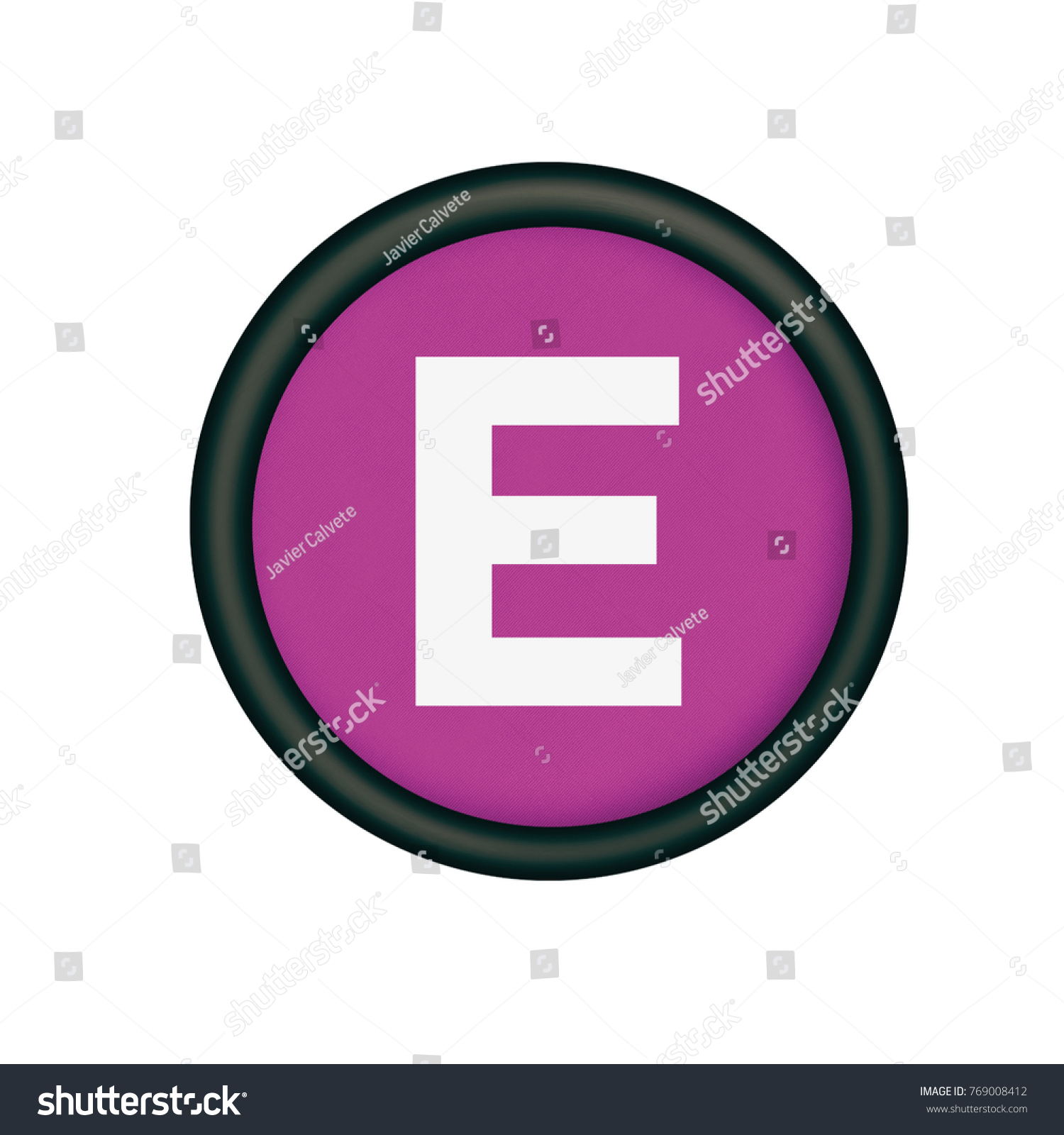 plastic button in purple color letter e | EZ Canvas