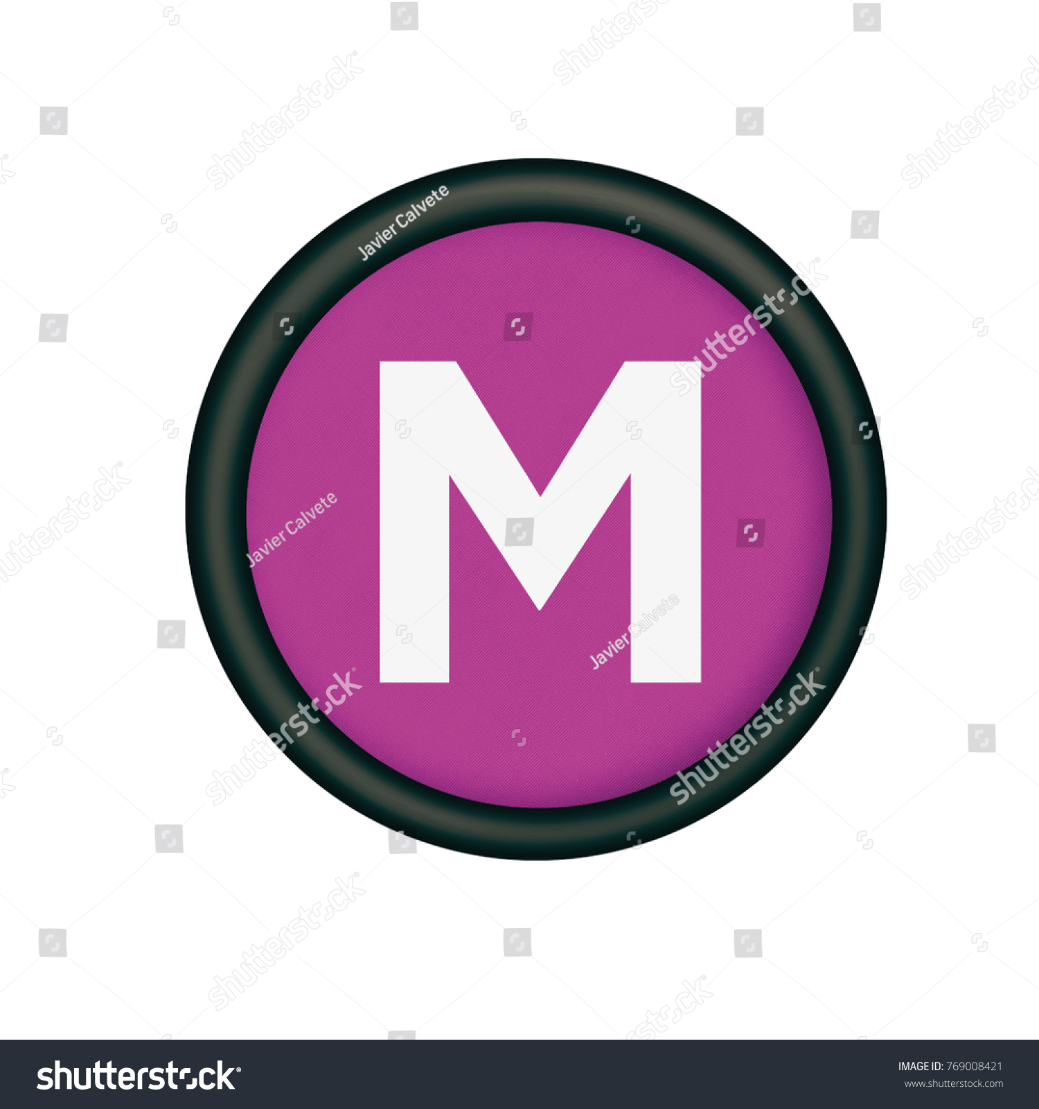 Plastic Button Purple Color Letter M Stock Illustration 769008421 ...