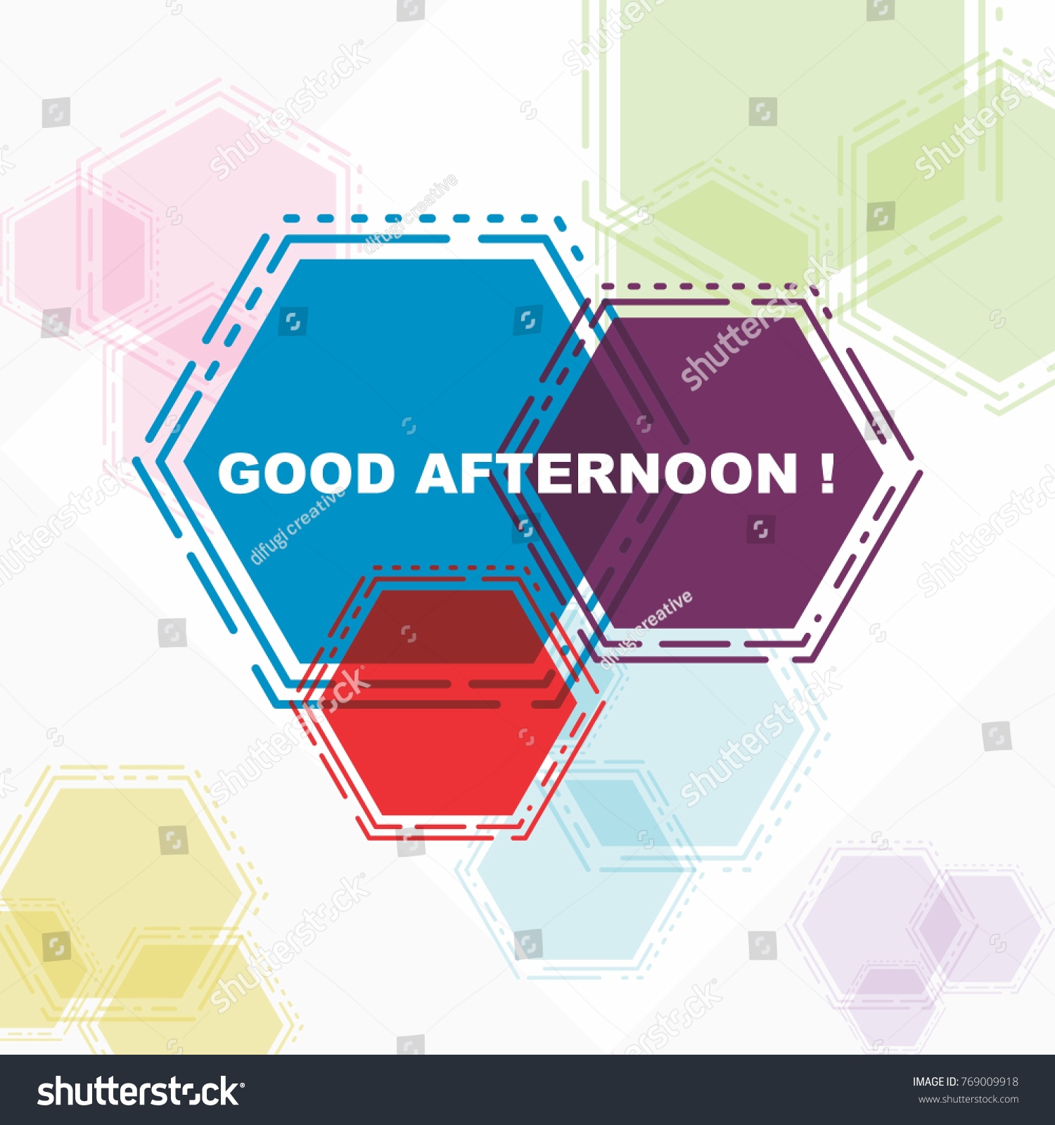 Good Afternoon Beautiful Greeting Card Poster Stock Vector 769009918