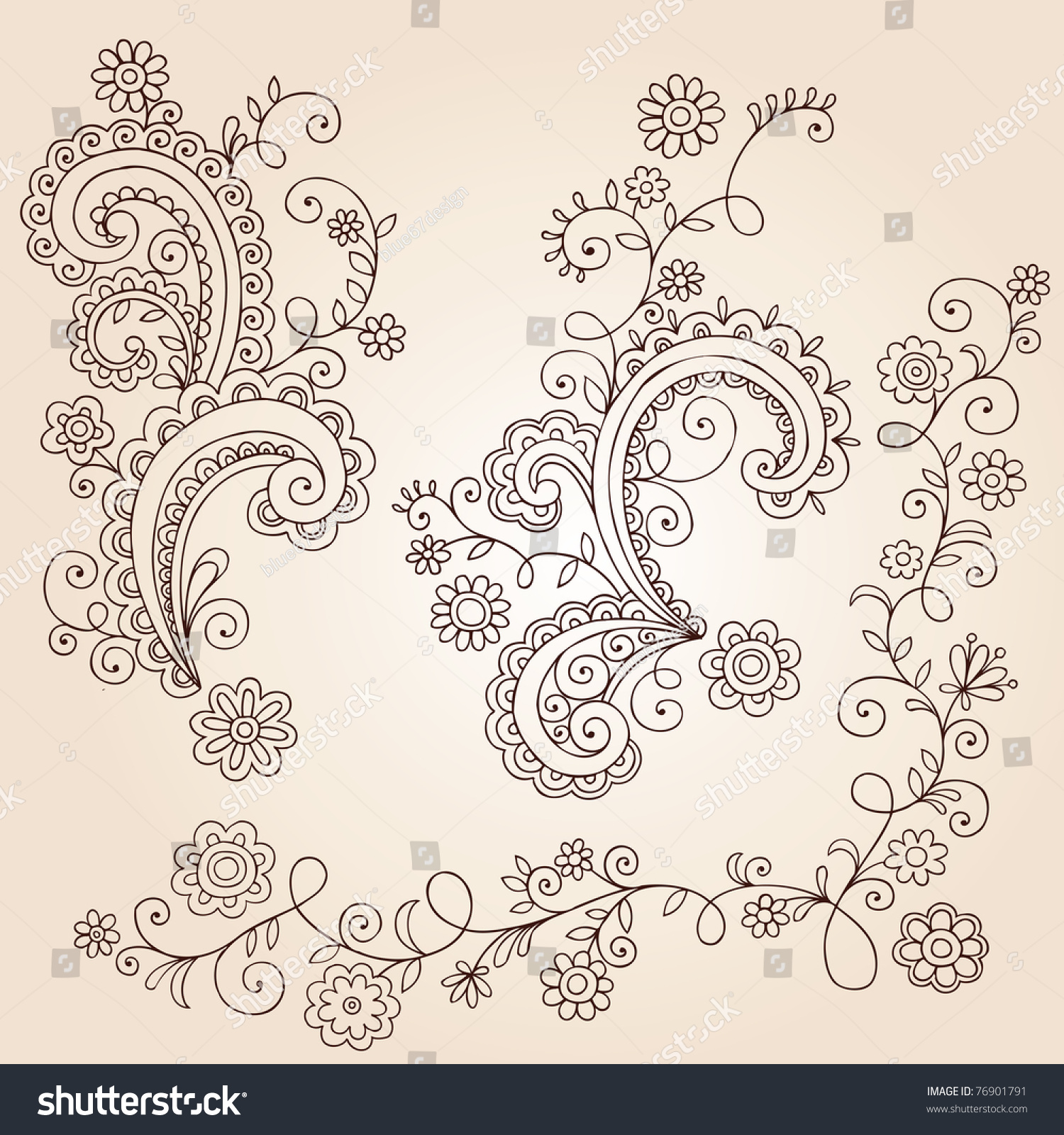 Handdrawn Abstract Henna Mehndi Abstract Flowers Stock Vector