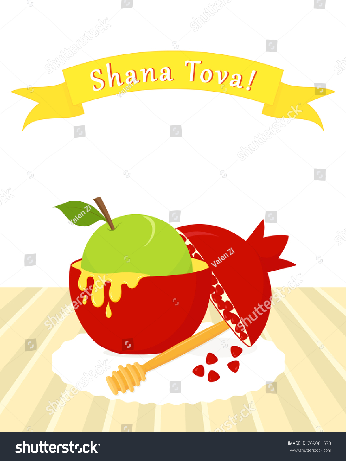 Greeting card jewish new year rosh stock vector 769081573 shutterstock greeting card for jewish new year rosh hashanah apple in pomegranate traditional holiday symbols m4hsunfo
