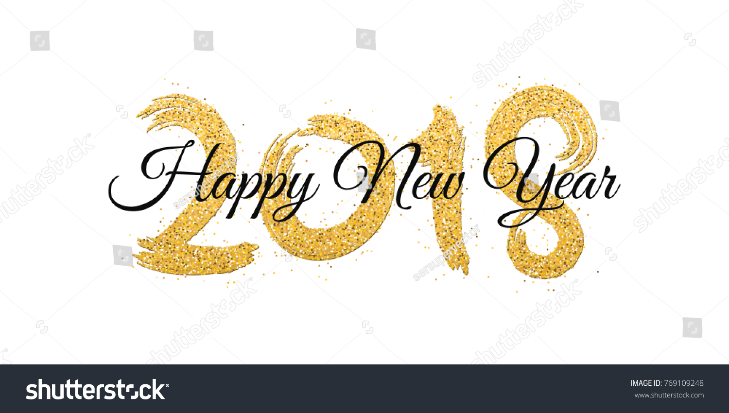 happy new year 2018 numbers of golden glitters with black text on a white background