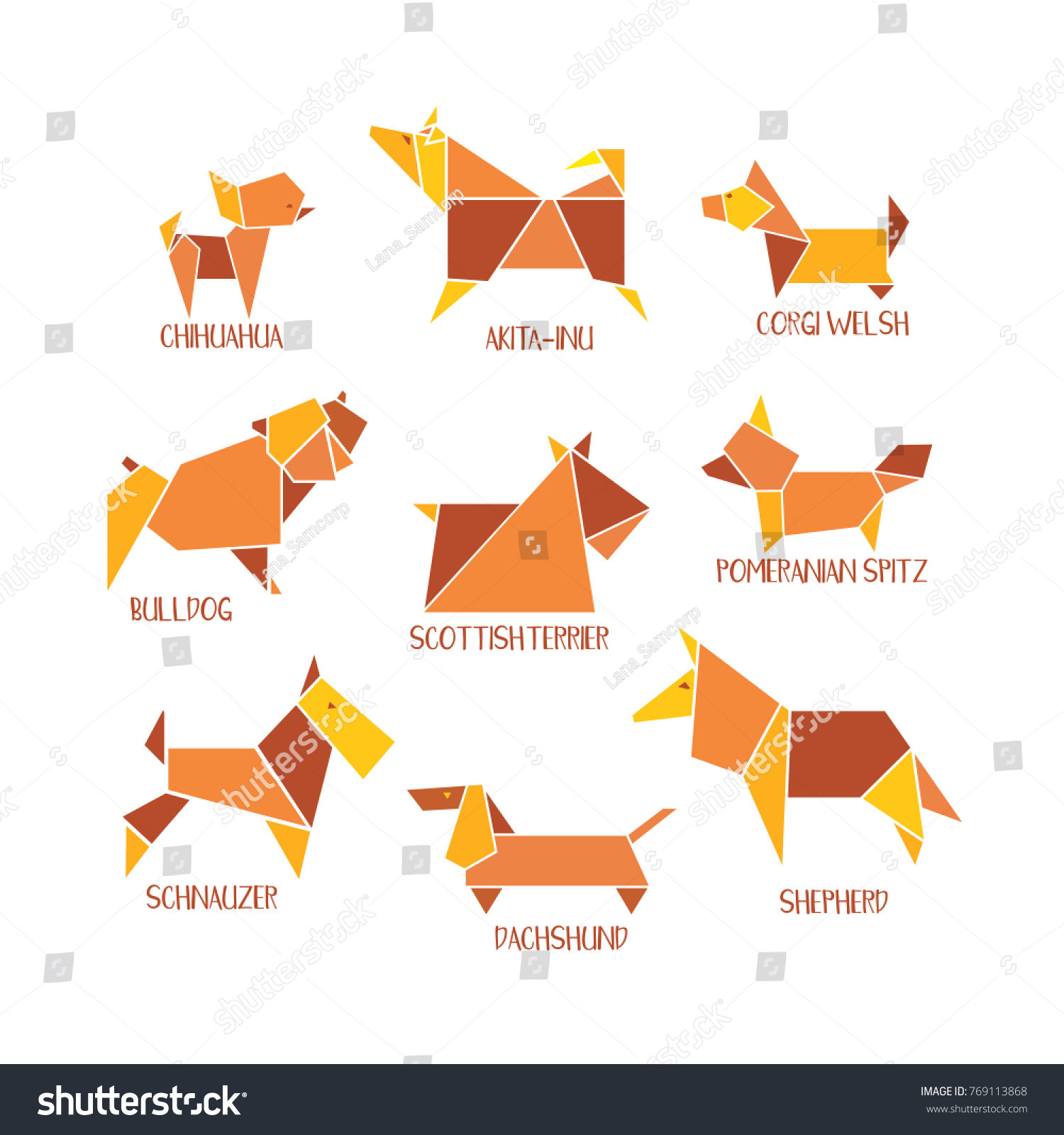 Origami dogs icon set abstract pet stock vector 769113868 origami dogs icon set abstract pet dog various breed sign silhouette isolated on white jeuxipadfo Gallery