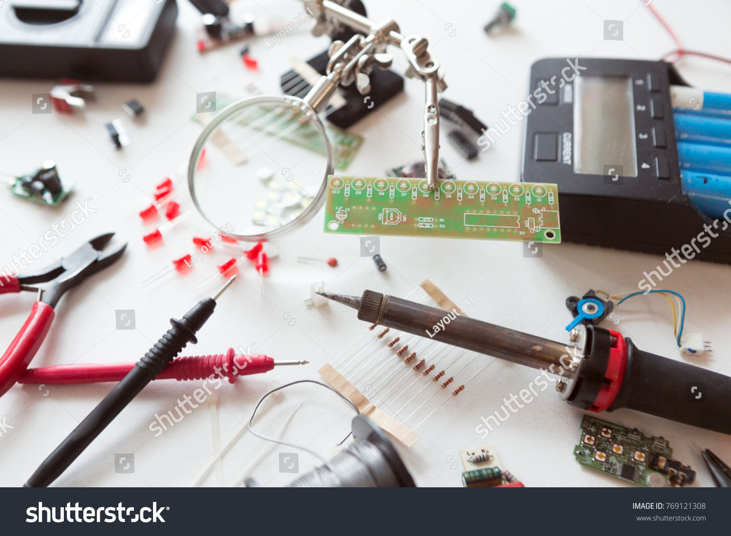 Electrician Plumber Tools Electrical Parts Components Stock Photo ...