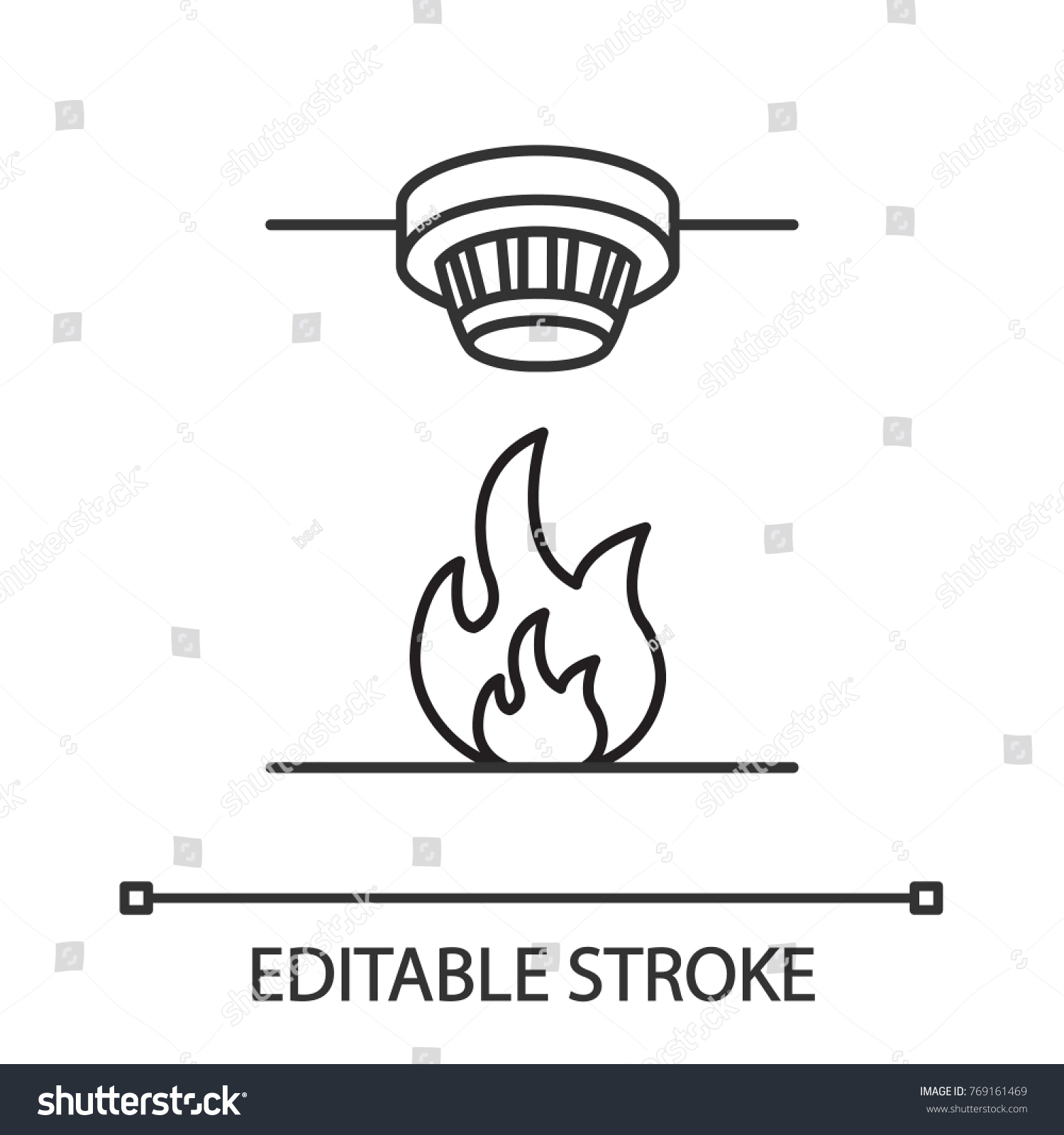Smoke Detector Linear Icon Fire Alarm Stock Vector Royalty Free