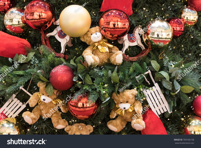 christmas tree decoration balls and teddy bear