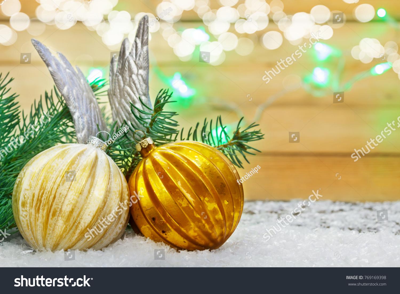 Christmas Decoration Balls Angel Wings Snow Stock Photo 769169398 ...