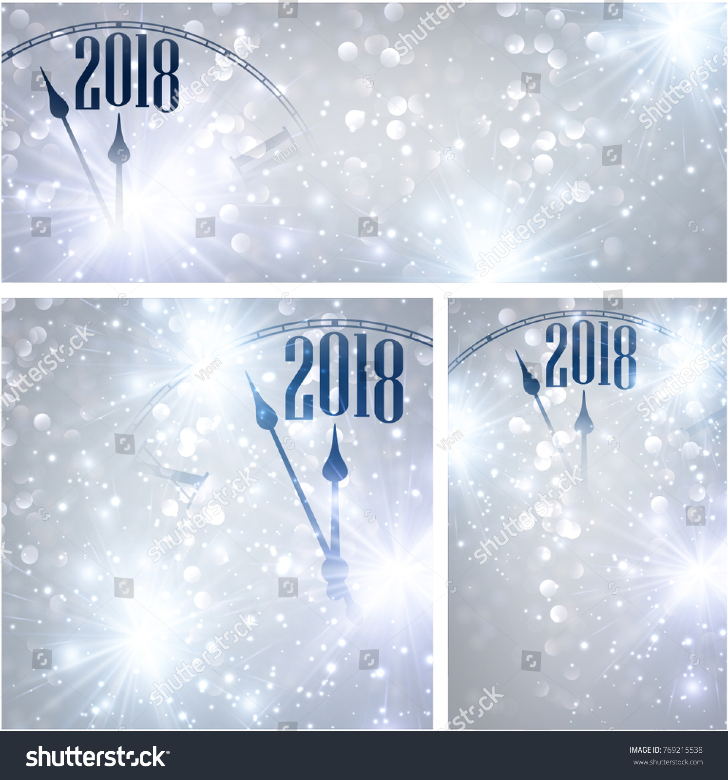 silver 2018 new year shining backgrounds set with clock vector christmas illustration