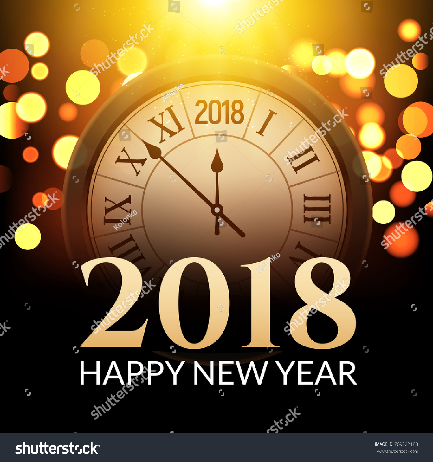 2018 new year shining background with clock happy new year 2018 celebration decoration poster