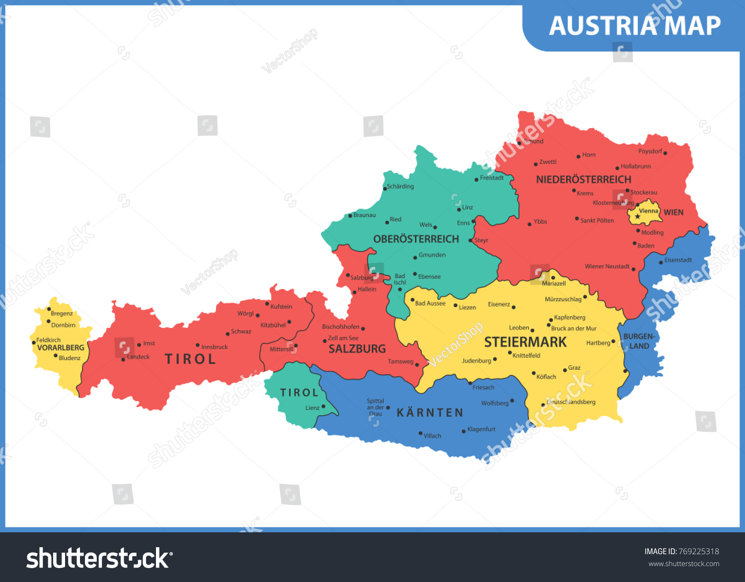 Detailed Map Austria Regions States Cities Stock Vector 769225318