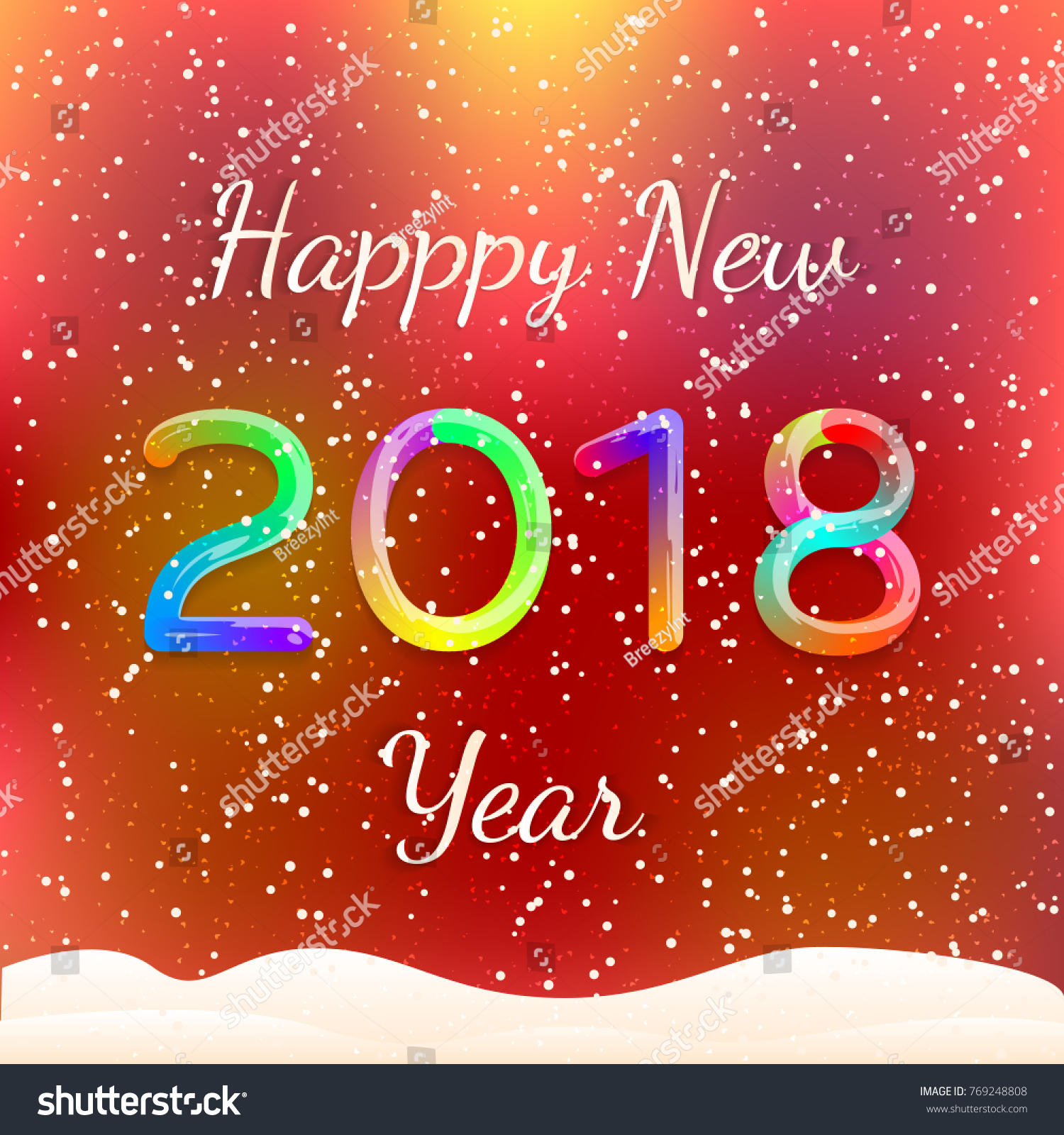Happy New 2018 Year Colorful Greeting Stock Vector Royalty Free