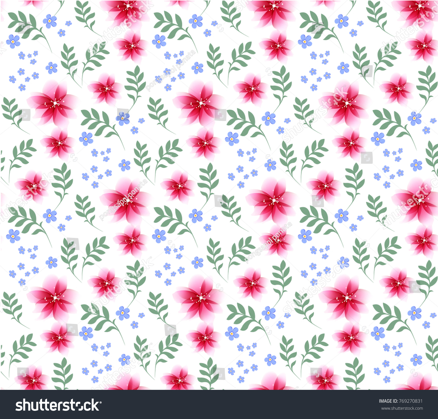 Tropical seamless pattern with hibiscus syriacus and plumeria flower ...