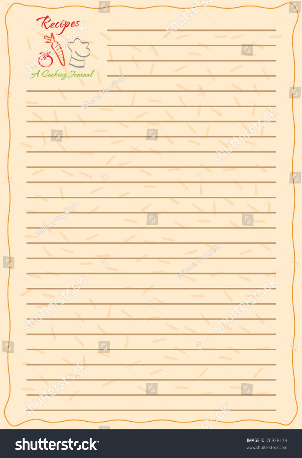 template frame design recipe book vector stock vector 76928113 shutterstock. Black Bedroom Furniture Sets. Home Design Ideas
