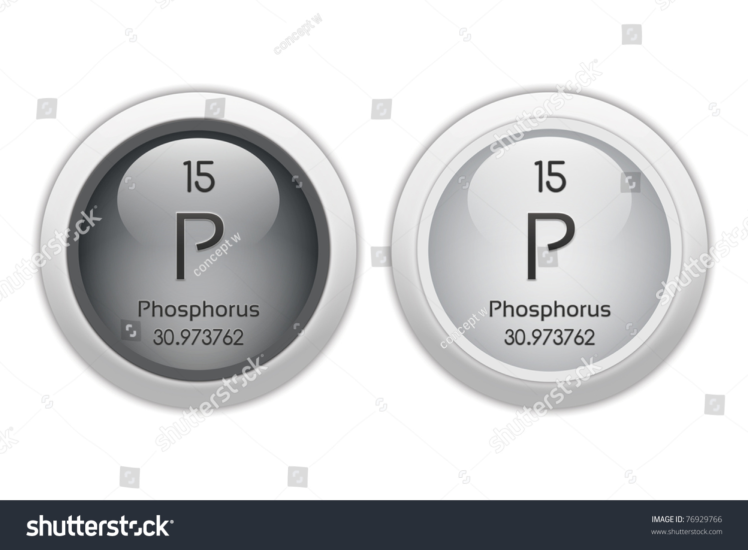 Phosphorus Two Web Buttons Chemical Element Stock Illustration