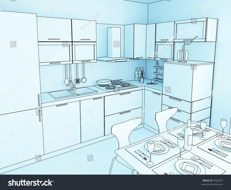 Hi Res Image Kitchen Cartoon Style Stock Illustration 7693207 ...
