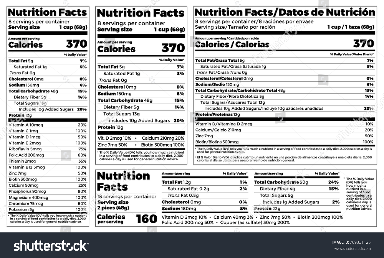 nutrition facts label design template food のベクター画像素材
