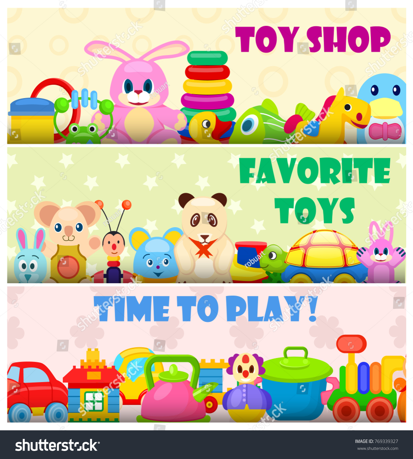 Time Play Favorite Toys Colorful Vector Stock Vector