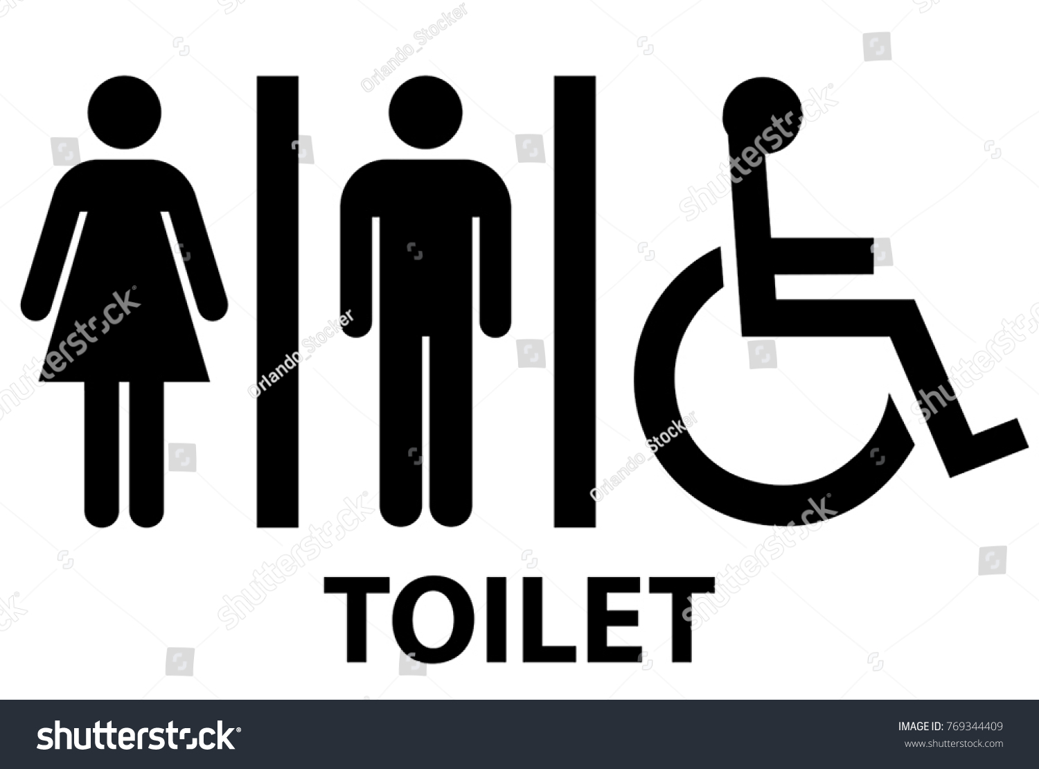 Male and Female Standard Symbol Toilet Sign. Male Female Standard Symbol Toilet Sign Stock Vector 769344409