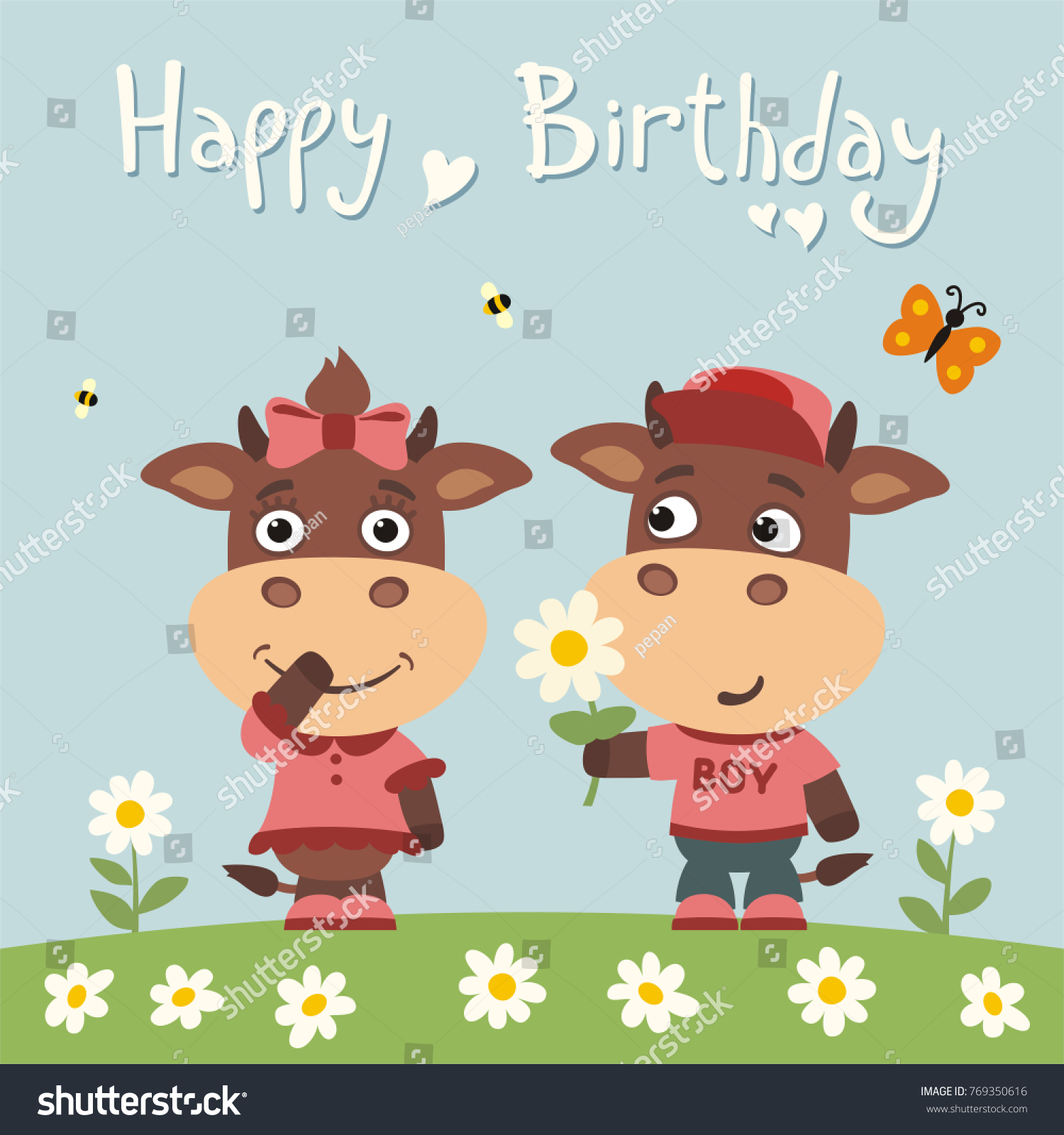 Happy Birthday Greeting Card Funny Bull Boy Gives Flower To Cow Girl