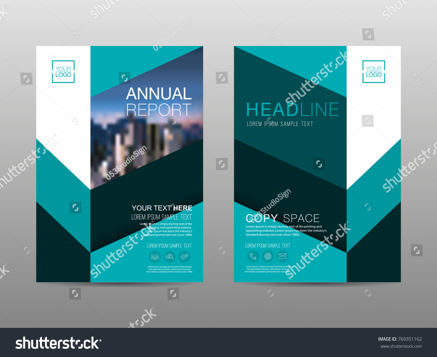 Annual Report Brochure Layout Design Template Stock Vector - Advertising brochure templates
