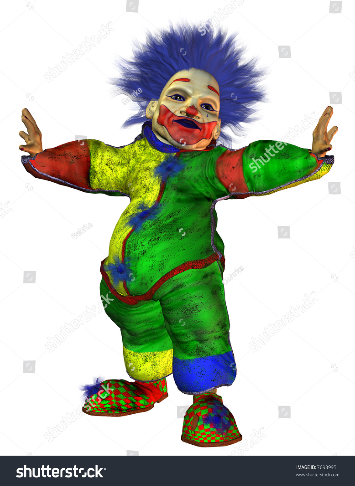 3d rendering ugly clown big belly stock illustration 76939951