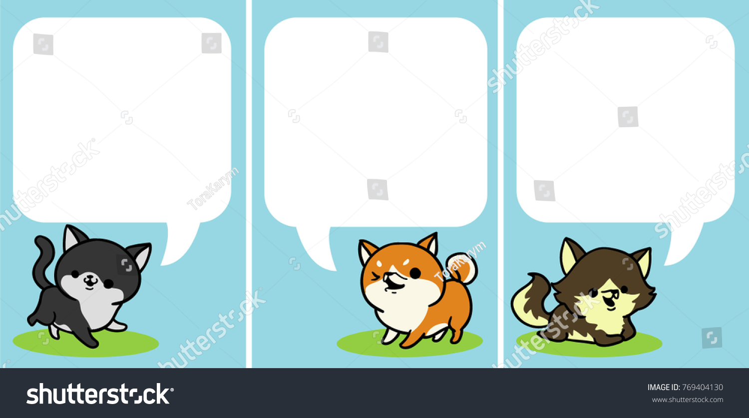 Cute Funny Cat Dogs Card Paper Stock Vector Shutterstock