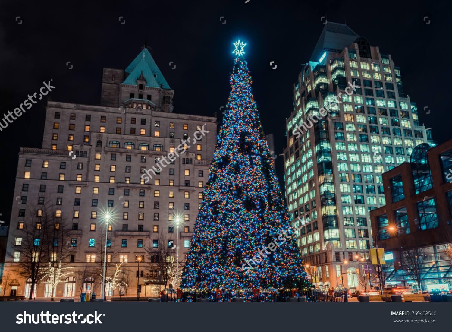 Vancouver Canada,December 2017.Christmas Tree Lights Decoration At Down  Vancouver,Canada