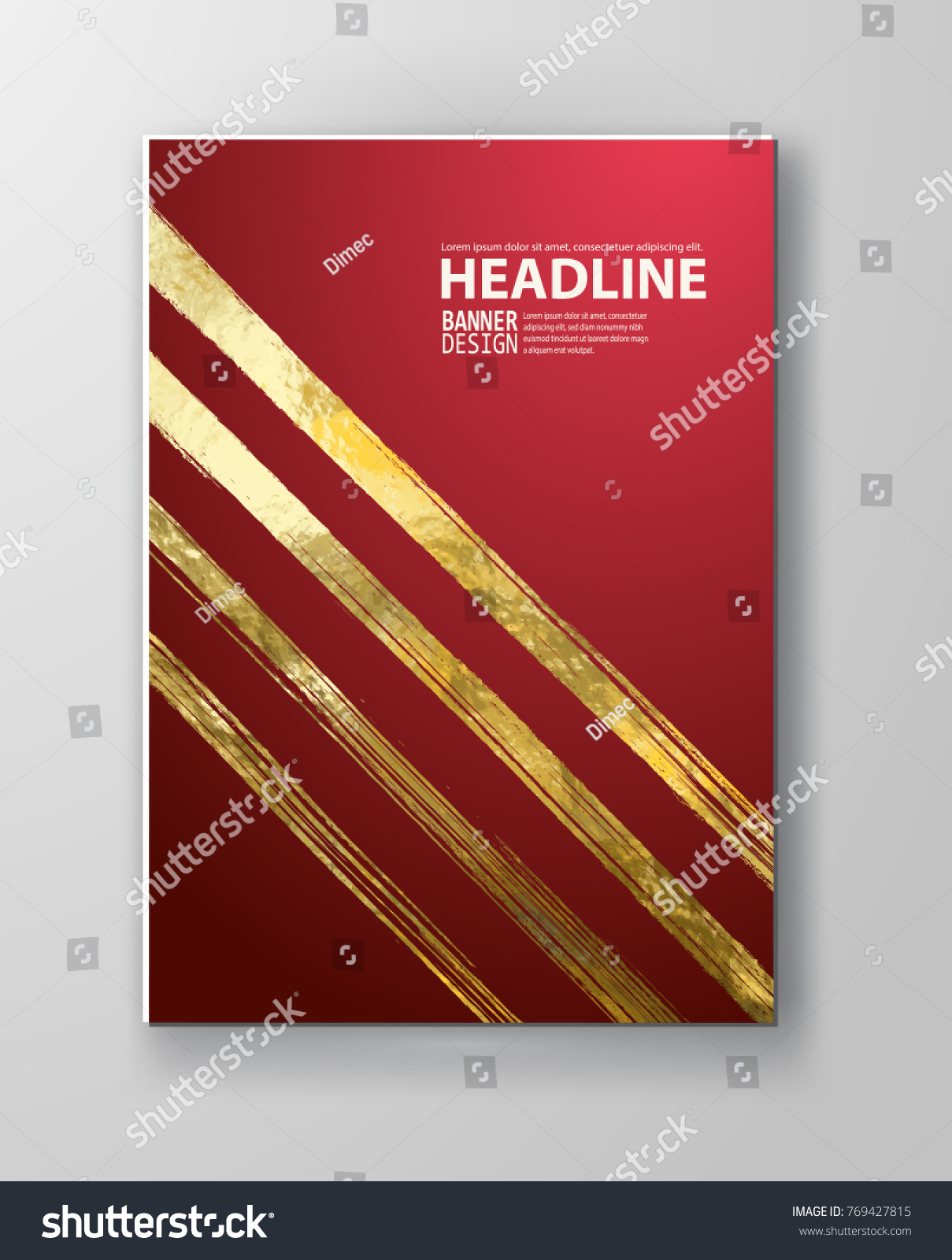 Vector Red Gold Design Templates Brochures Stock Vector