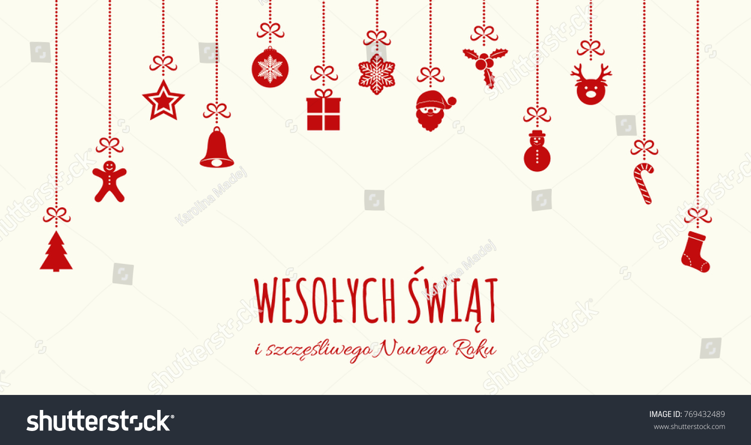 wesolych swiat merry christmas in polish concept of christmas card with decoration vector
