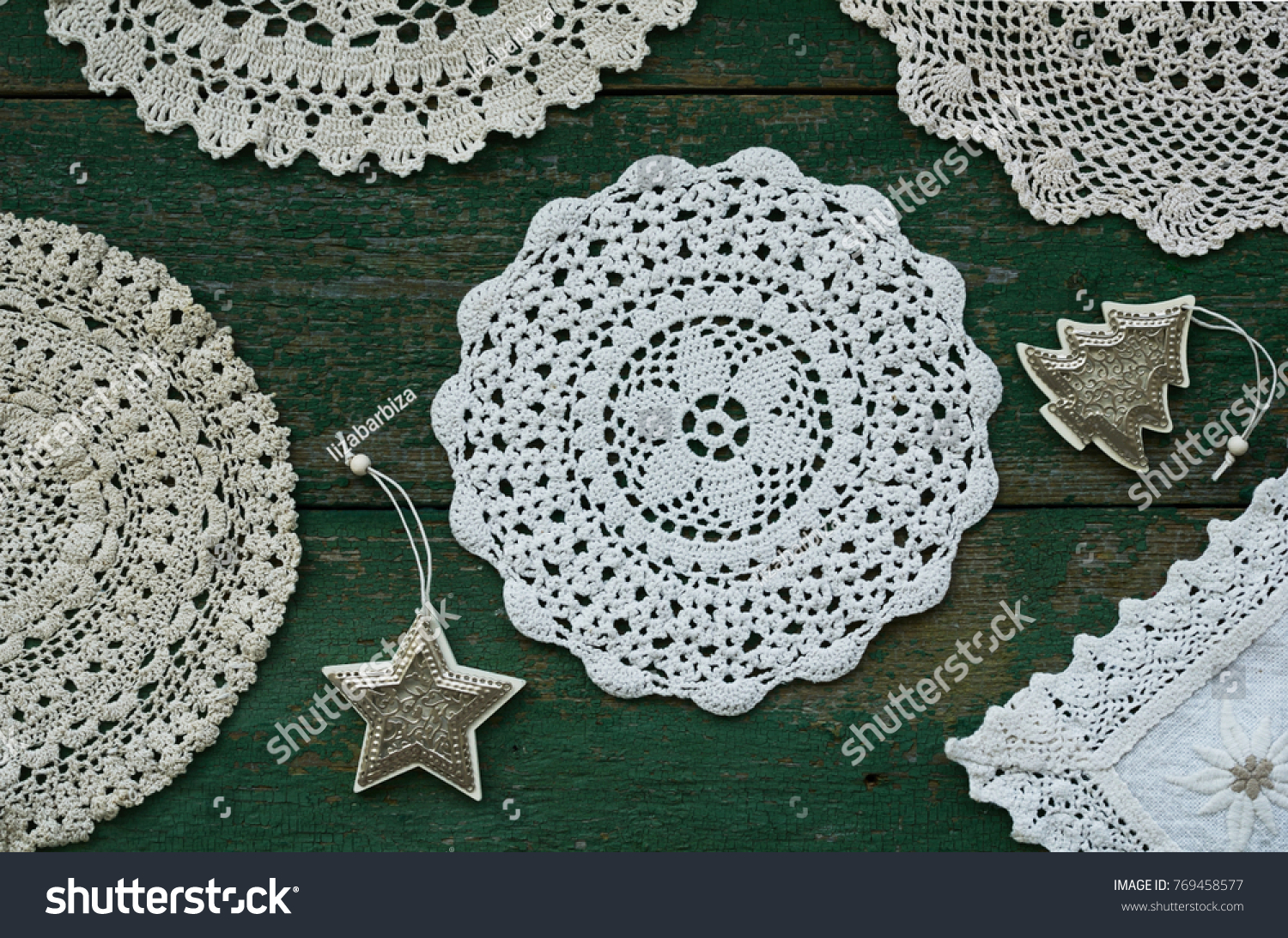 Winter Background Collection Vintage Lace Doilies Stock Photo ...