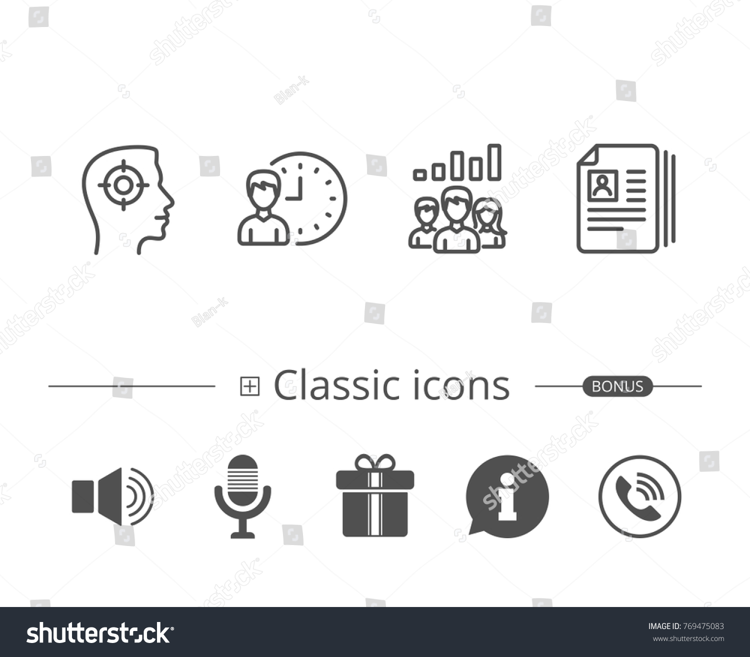head hunting business networking and teamwork line icons get a job cv and