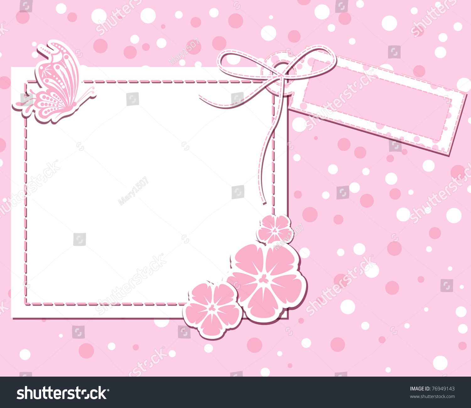 Vector Flower Pink Scrap Background Butterfly Stock Vector ...