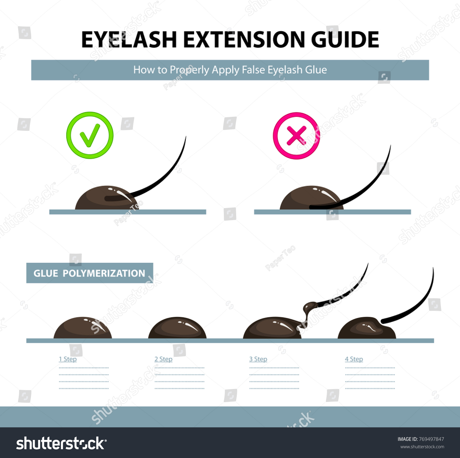 Eyelash Extension Guide How Properly Apply Stock Vector Royalty