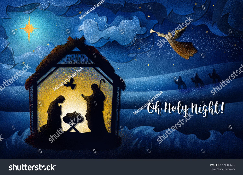 Greeting Card Traditional Christian Christmas Nativity Stock