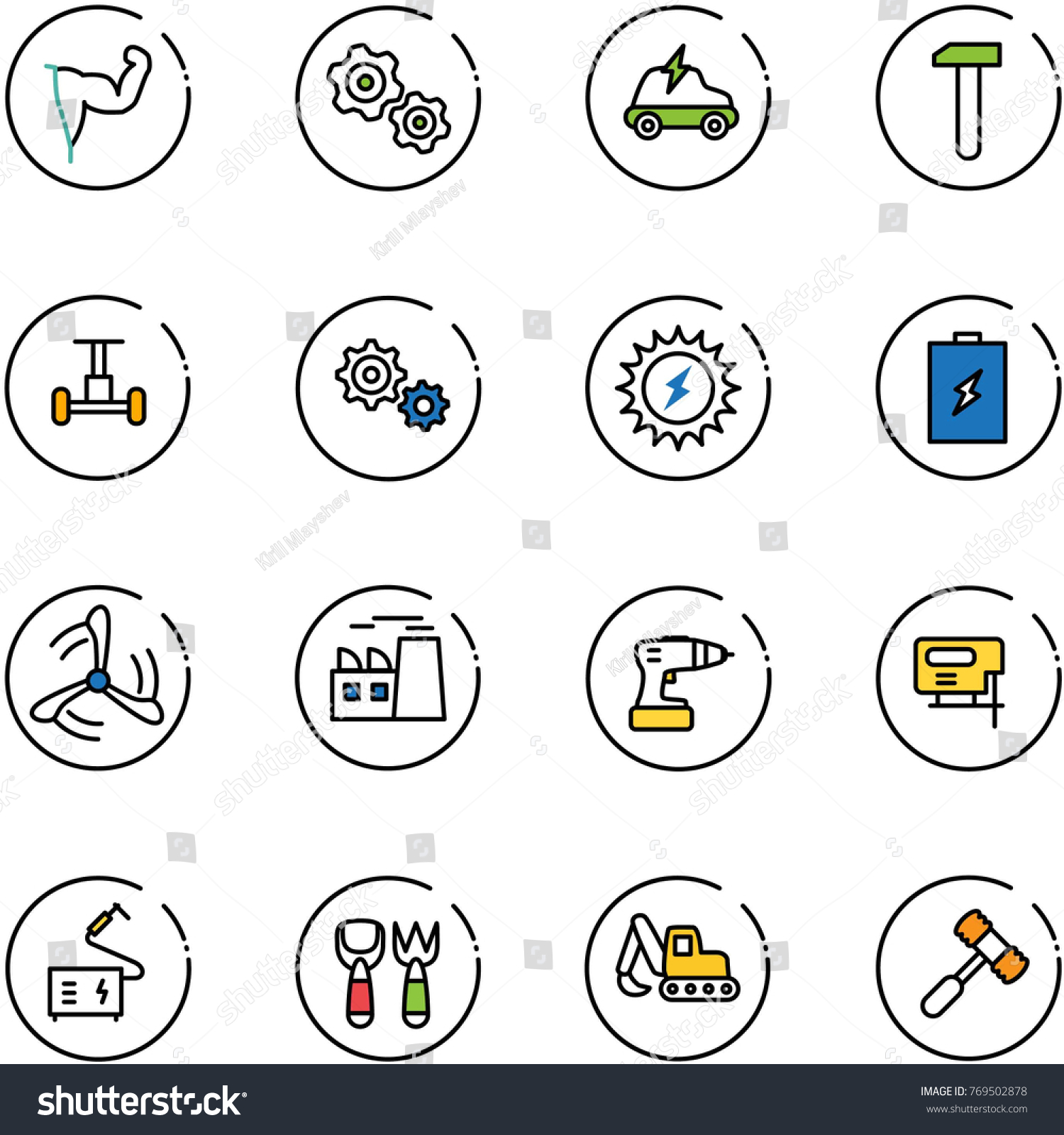 Line Vector Icon Set Power Hand Stock Vector HD (Royalty Free ...