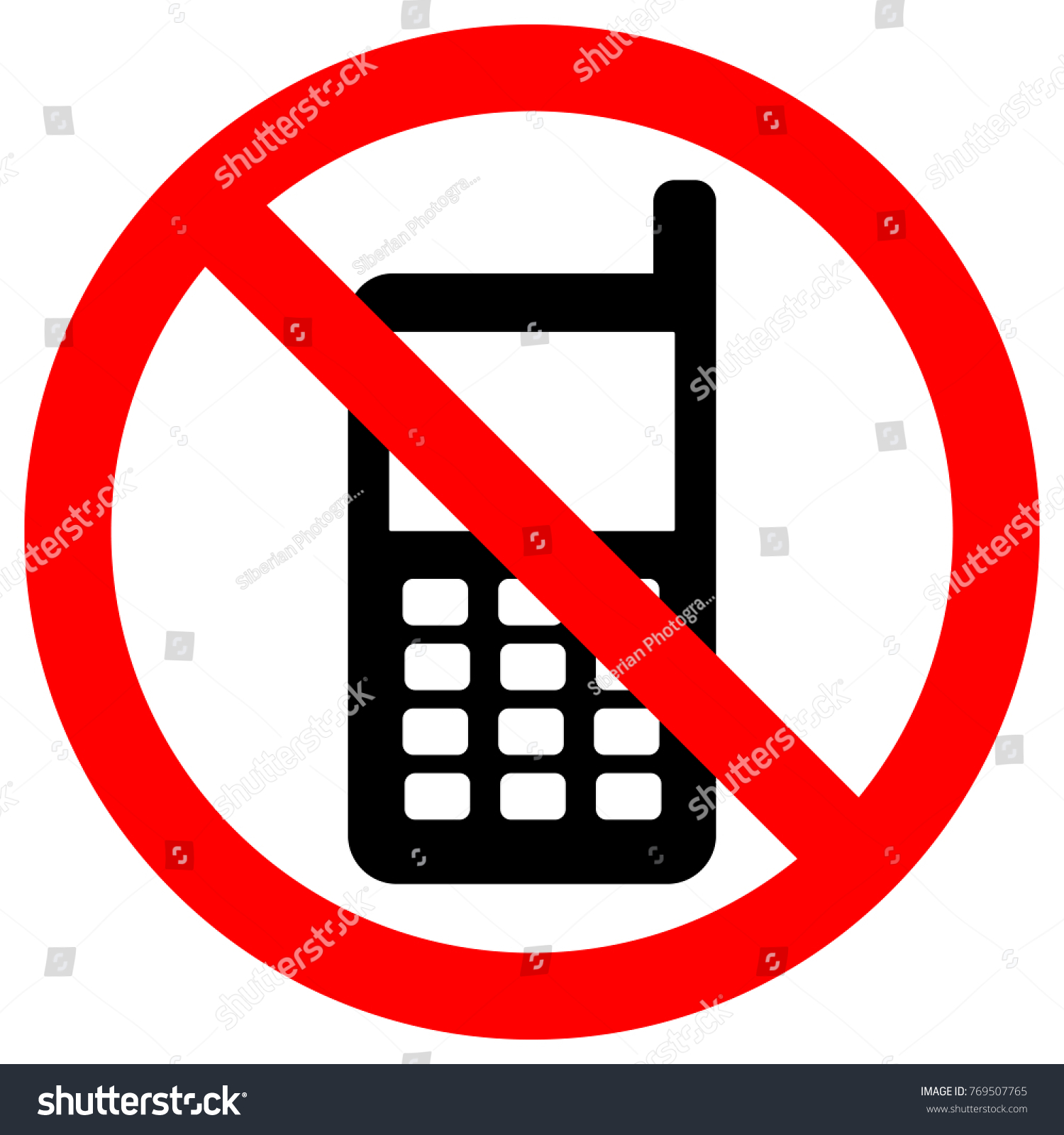 No cell phones zone sign keep stock vector 769507765 shutterstock keep silence symbol button mobile phone with antenna icon buycottarizona Choice Image