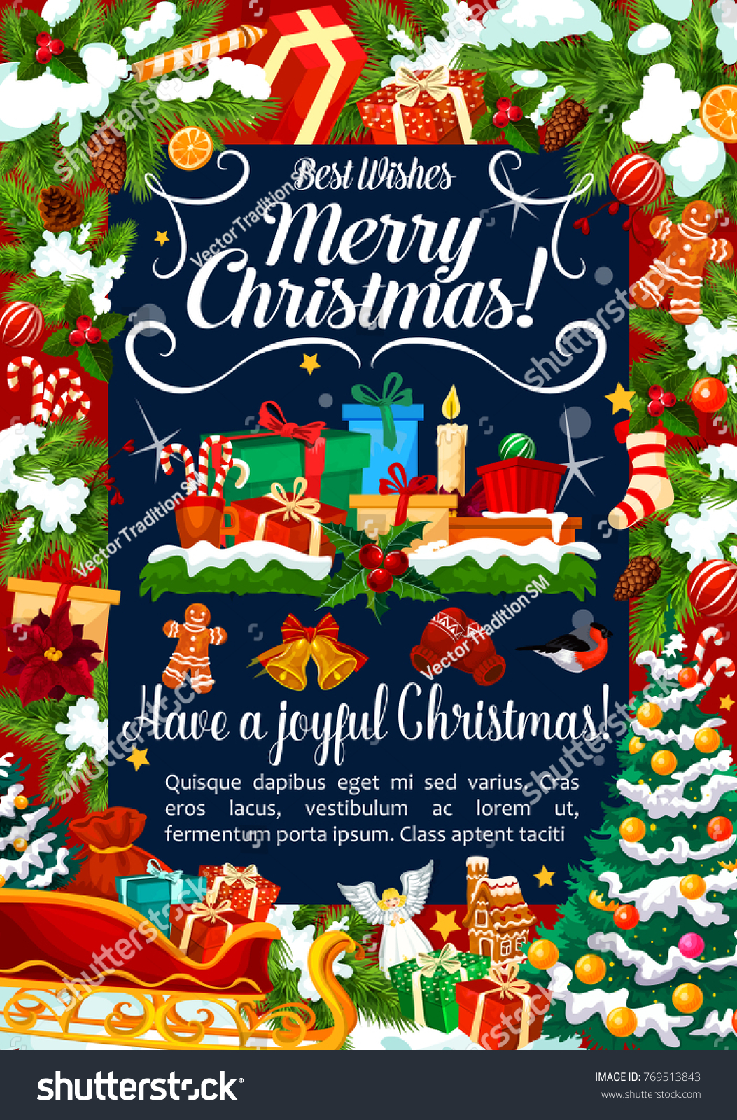 merry christmas best wishes greeting card design of santa gifts and new year decorations on christmas