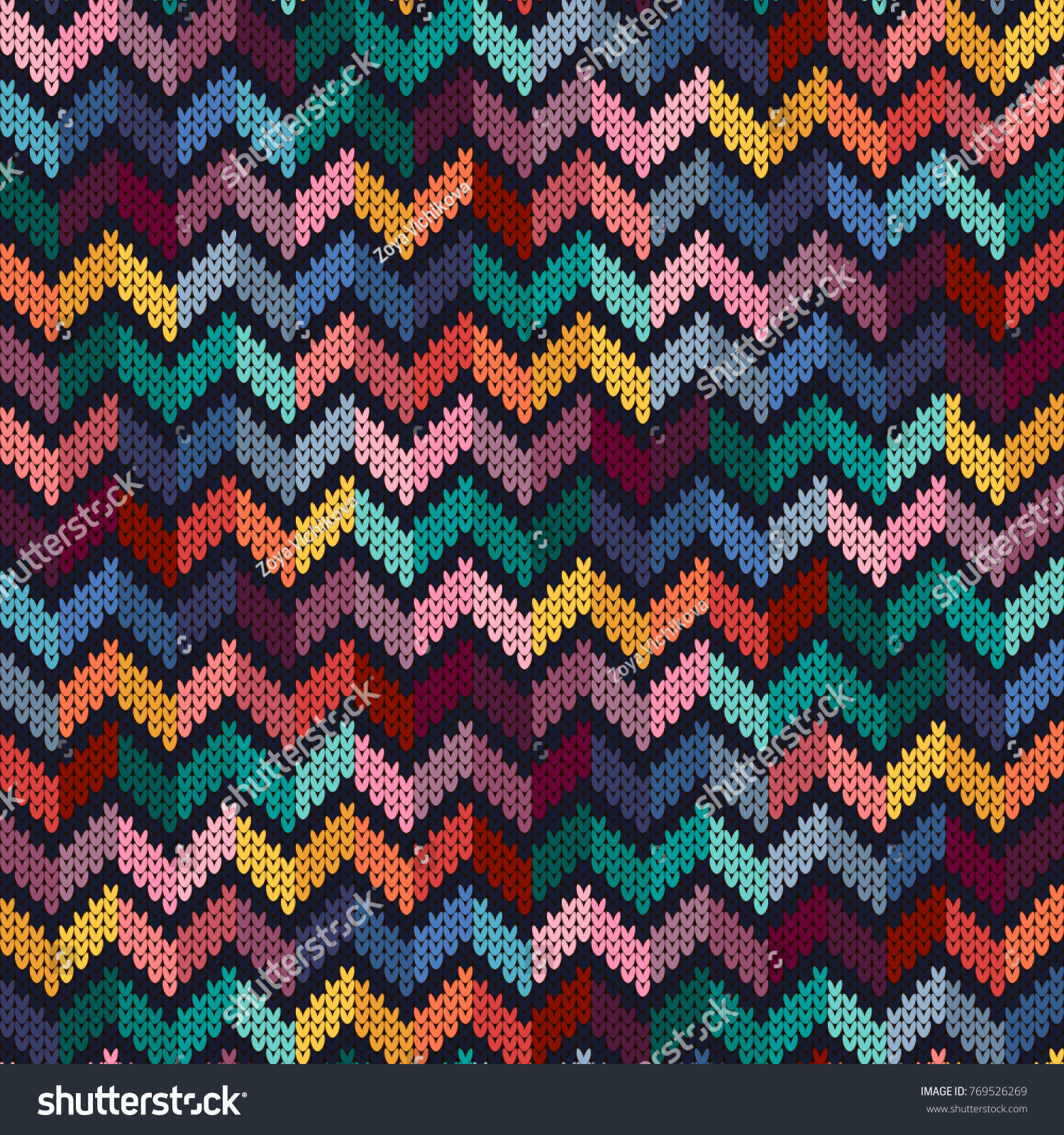 Seamless Multicolored Knitted Pattern Zigzag Knitted Texture Vector ...