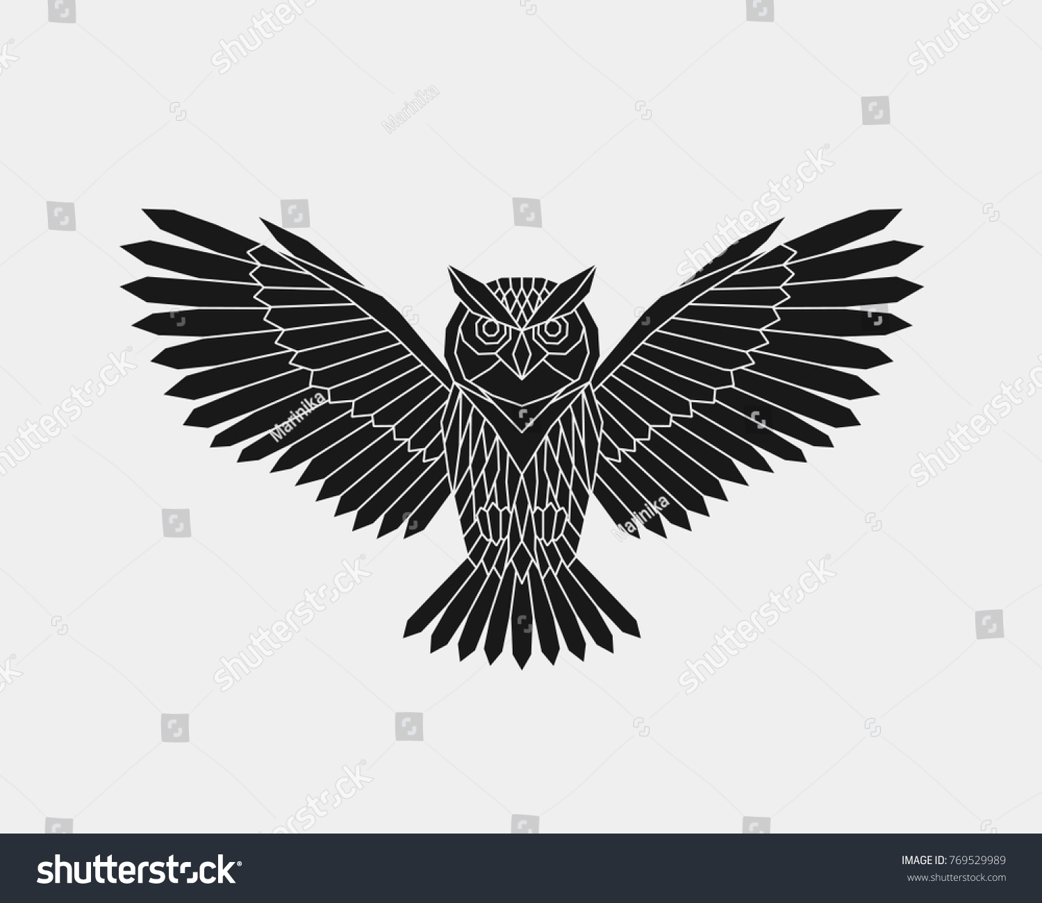 Vector Abstract Polygonal Owl Open Wings Stock Vector (Royalty Free ...