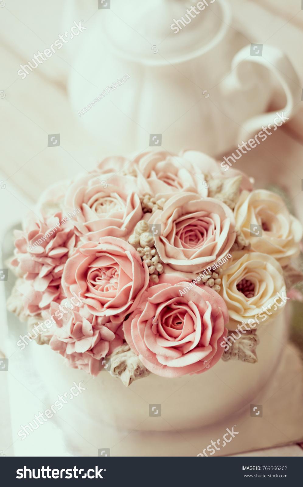 Buttercream Flower Cake Happy Birthday Cake Stock Photo (Royalty ...