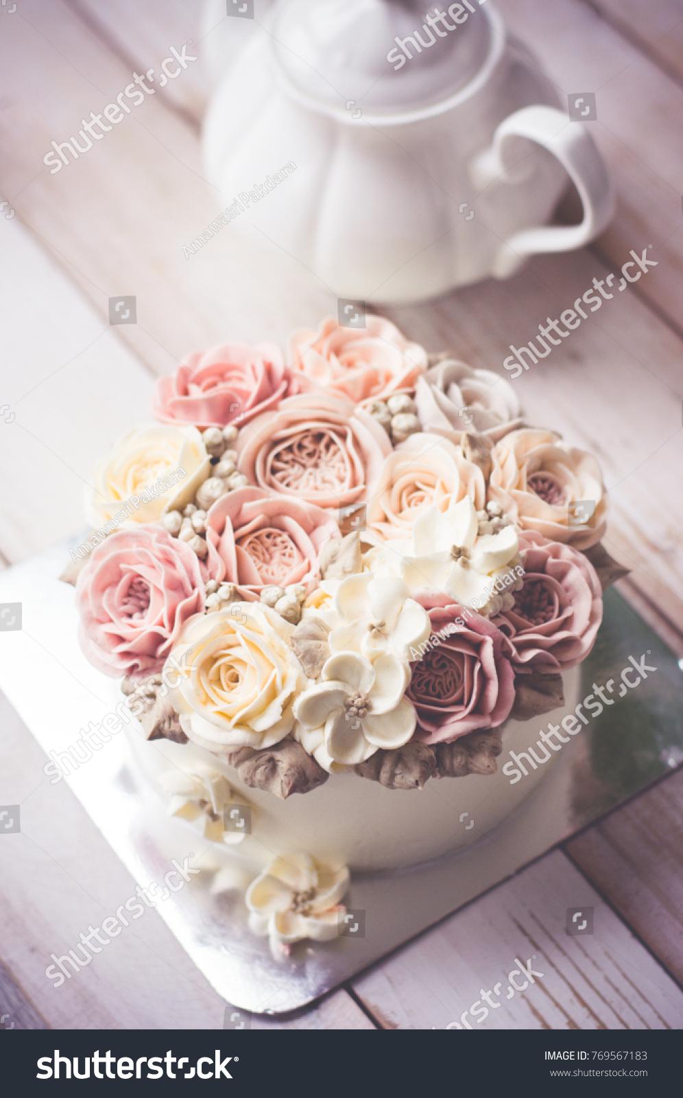 Buttercream Flower Cake Happy Birthday Cake Stock Photo (Edit Now ...