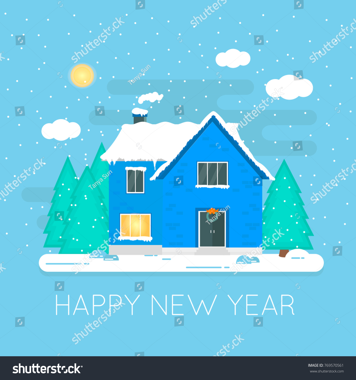 Abstract Christmas Icon Winter Home Perfect Stock Vector 769570561