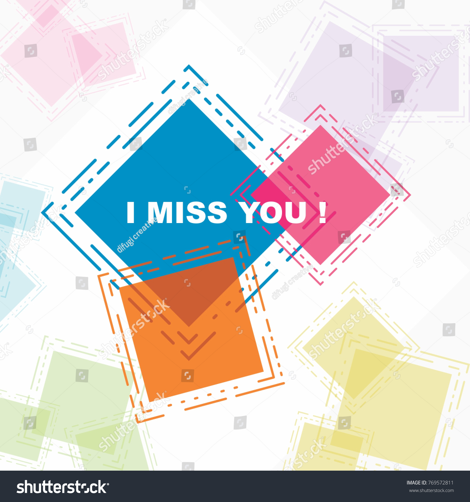 Miss You Beautiful Greeting Card Poster Stock Vector 769572811