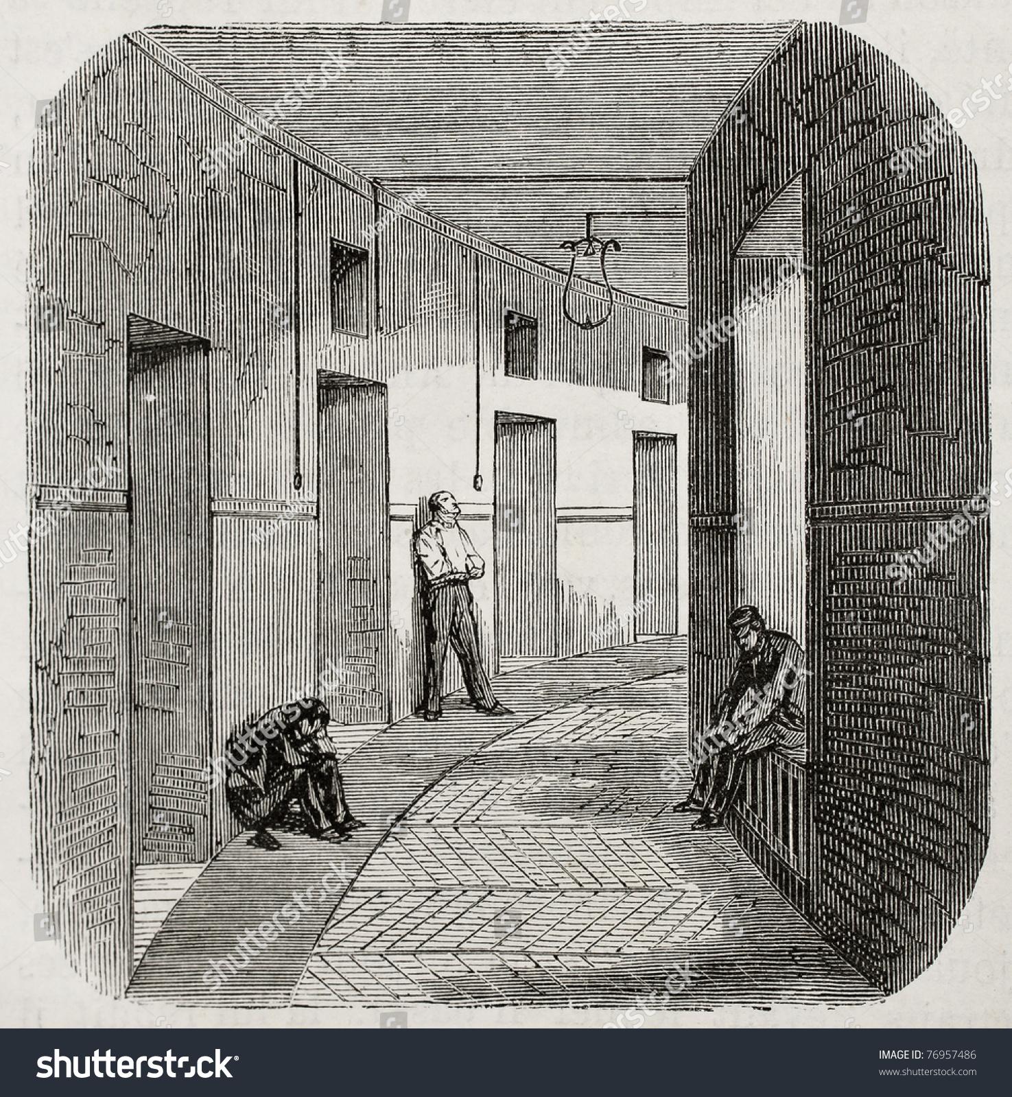 Antique Illustration Of Corridor Of Confinement Rooms At