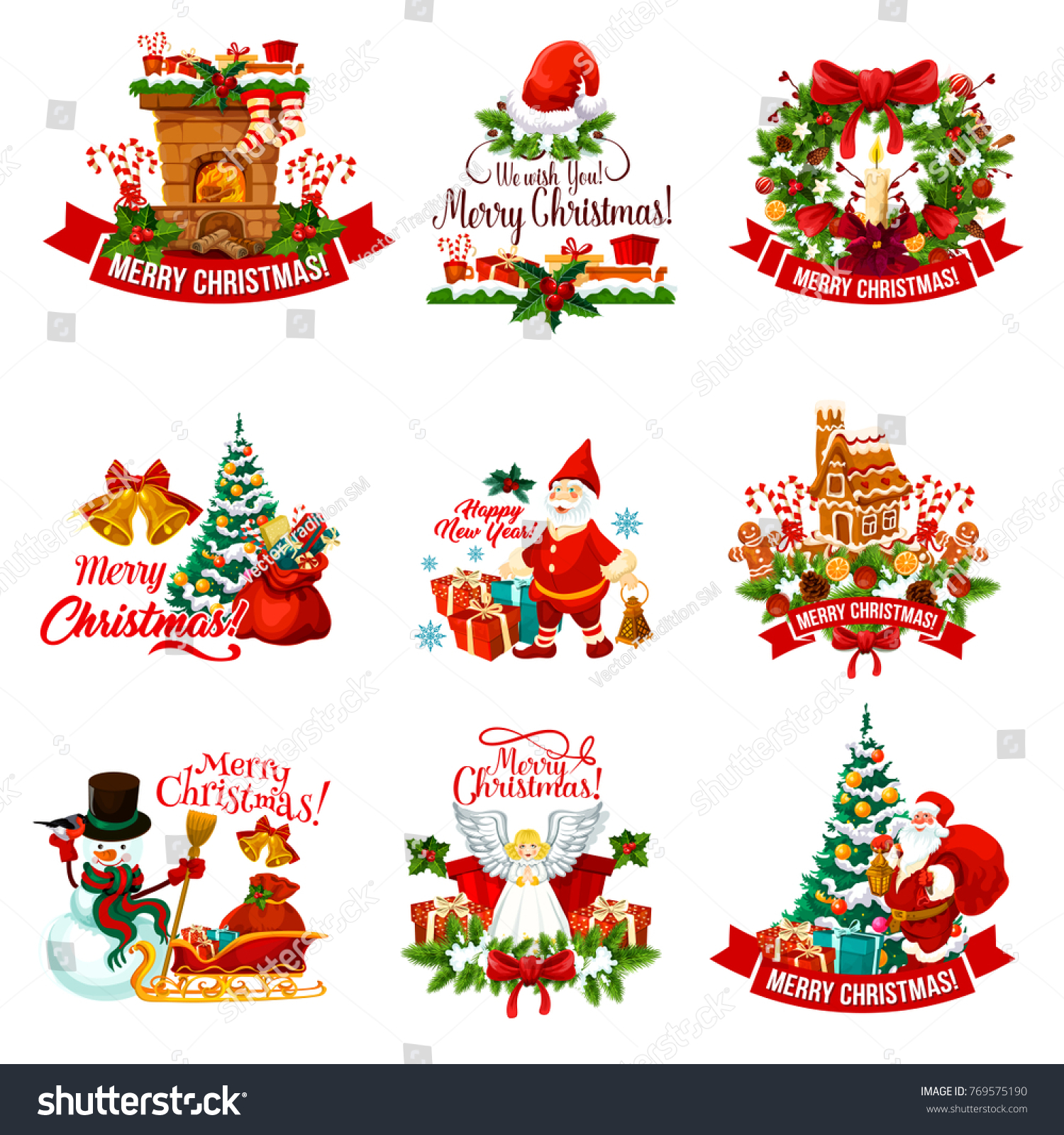 Christmas Holiday Badge New Year Celebration Stock Vector (Royalty ...