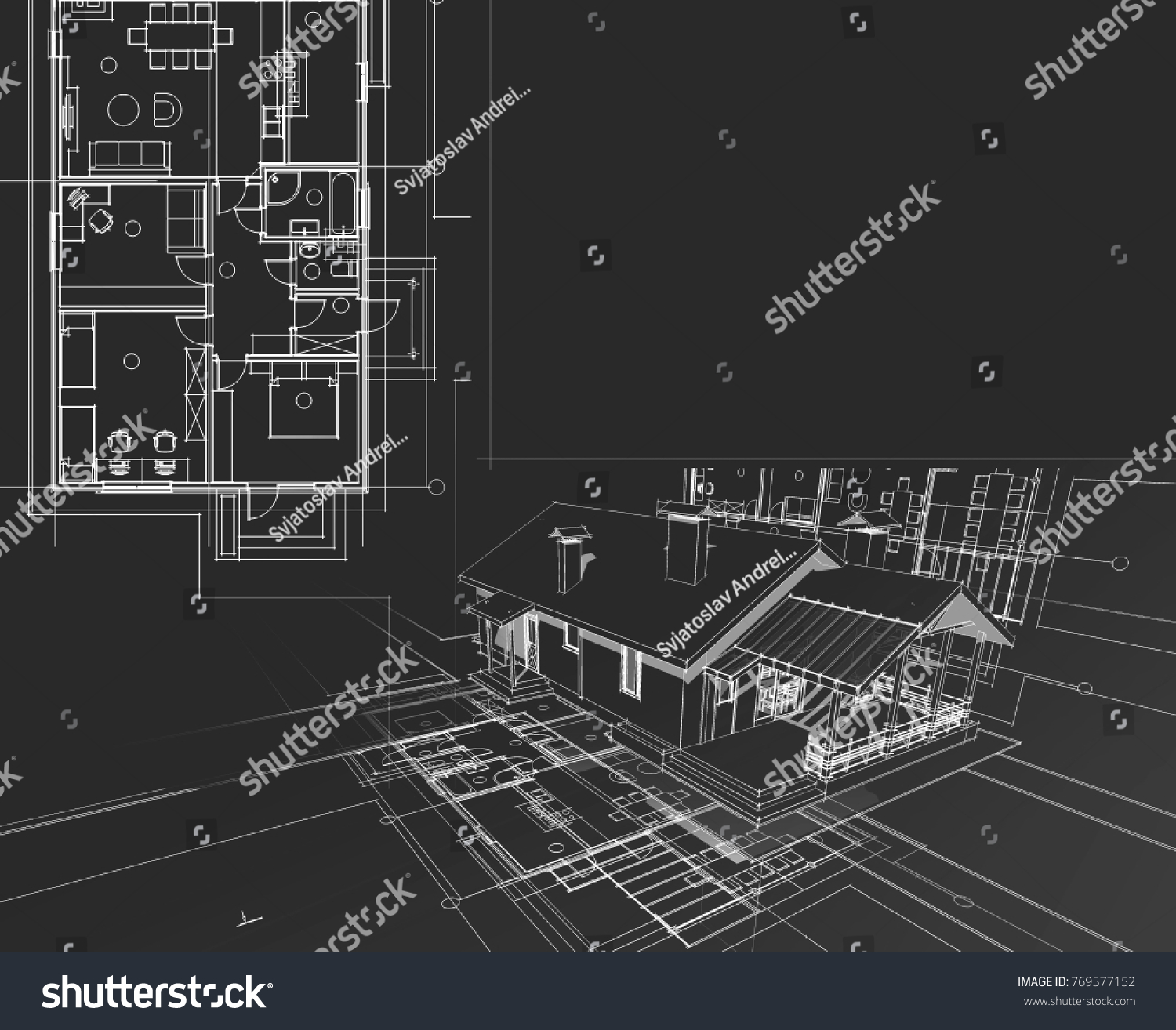 house architectural project sketch collage 3 d stock illustration