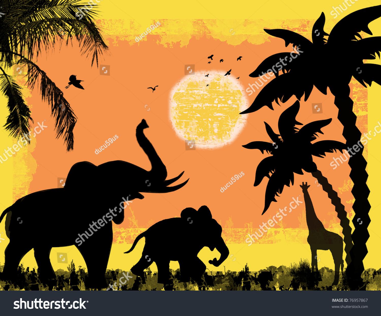 African Safari Theme Elephants Giraffe Against Stock Vector ...