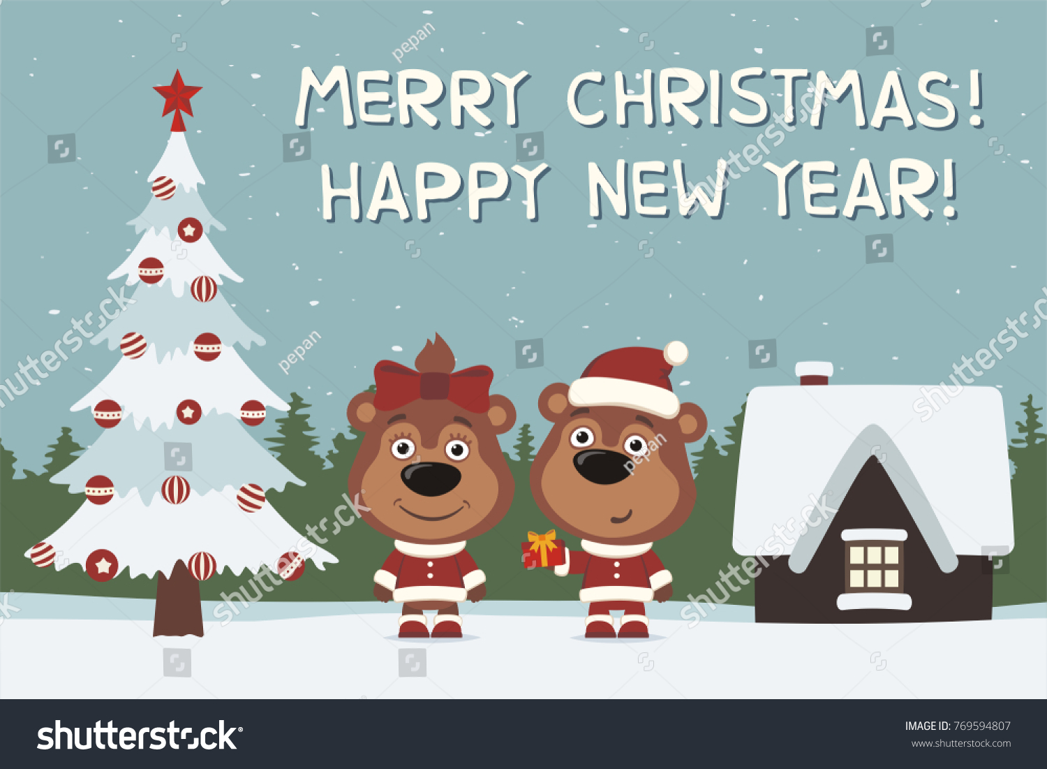 Merry christmas and happy new year greeting card two funny bear id 769594807 m4hsunfo
