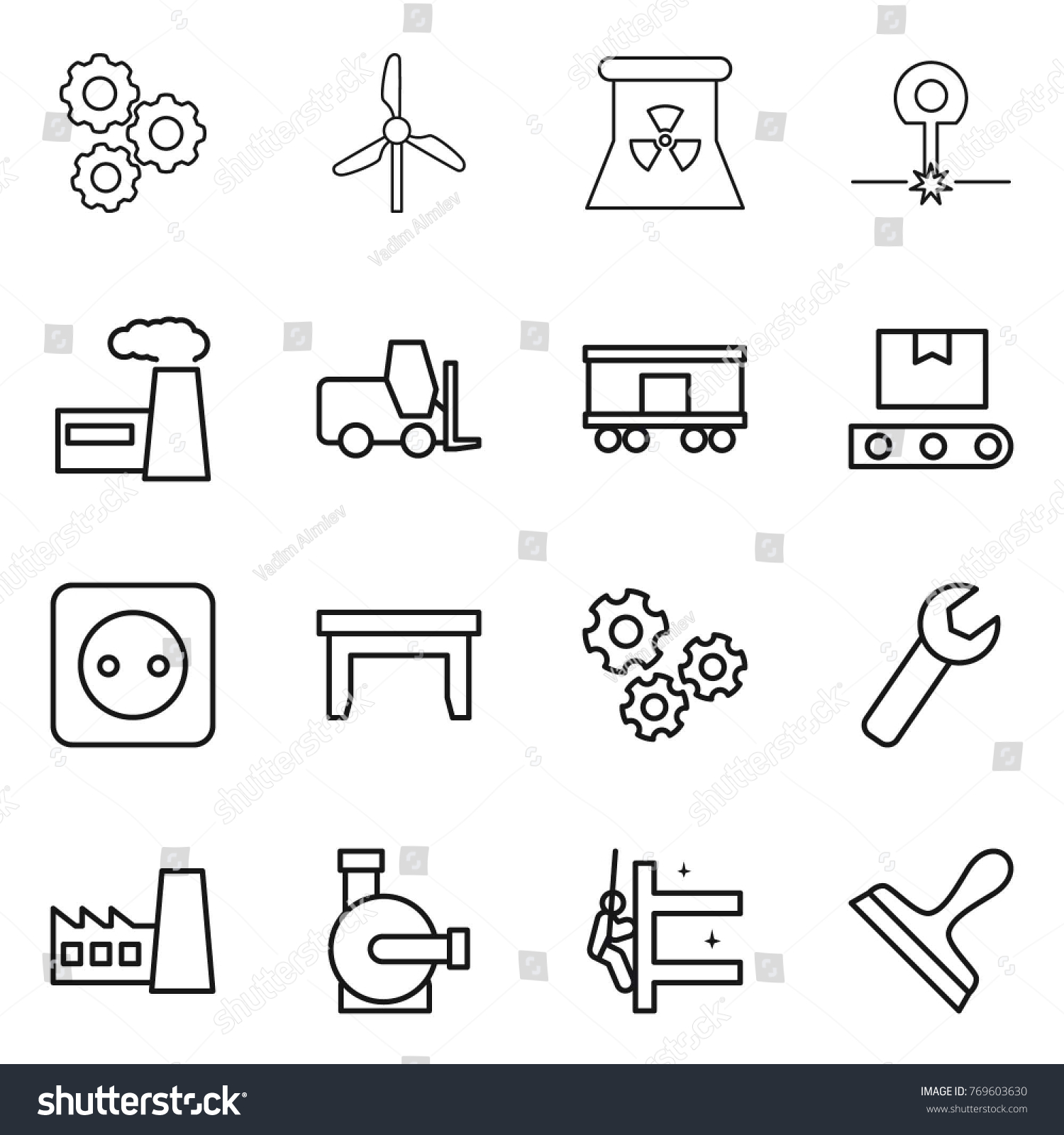Thin line icon set gear windmill stock vector 769603630 shutterstock thin line icon set gear windmill nuclear power laser factory pooptronica Gallery